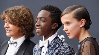 LOS ANGELES, CA - SEPTEMBER 18: (L-R) Actors Gaten Matarazzo, Caleb McLaughlin and Millie Bobby Brown attend the 68th Annual Primetime Emmy Awards at Microsoft Theater on September 18, 2016 in Los Angeles, California. Frazer Harrison/Getty Images/AFP == FOR NEWSPAPERS, INTERNET, TELCOS & TELEVISION USE ONLY ==