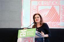 """En el marco del aniversario 26 del Tecnológico de Estudios Superiores de Ecatepec, la secretaria de Educación, Ana Lilia Herrera Anzaldo, Señaló que en la entidad tenemos instituciones de primer nivel, """"porque de primer nivel es la gente del Estado de México""""."""