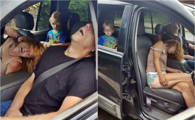 Padres conducían drogados casi inconscientes con su hijo adentro