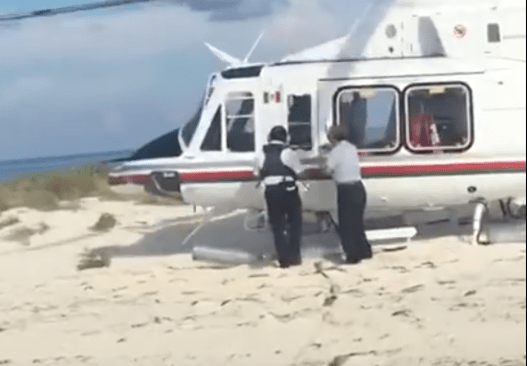 Senador priísta aterriza en helicóptero sobre área protegida