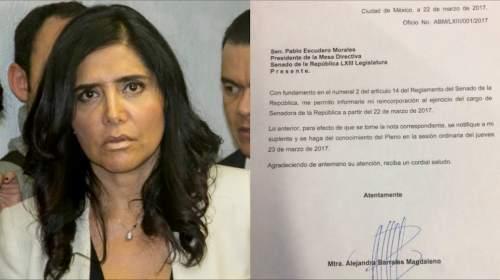 Abandona Alejandra Barrales presidencia del PRD, regresa al Senado