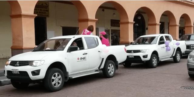 Con caravana intenta el INE promocionar el voto