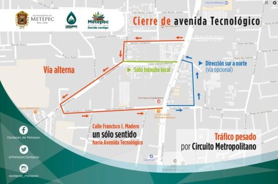Cerrará Av. Tecnológico en Metepec a partir del 30 de junio