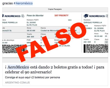 Falsa promoción de boletos gratis de avión se propaga en Facebook