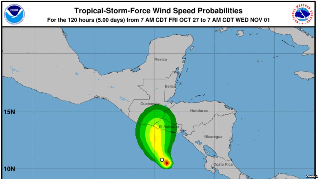 Tormenta tropical  avanza hacia El Salvador