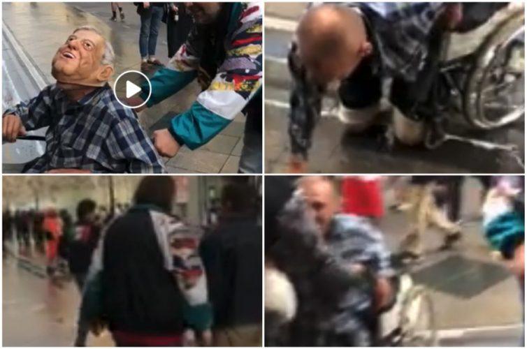 Presunto mexicano tira a hombre en silla de ruedas en Rusia por portar máscara de AMLO
