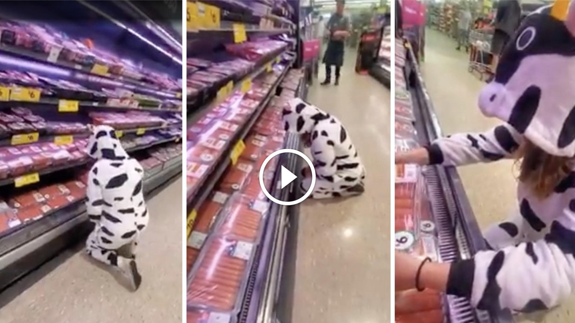 Protestante vegana se viste de vaca y se pone a llorar en la sección de carnes