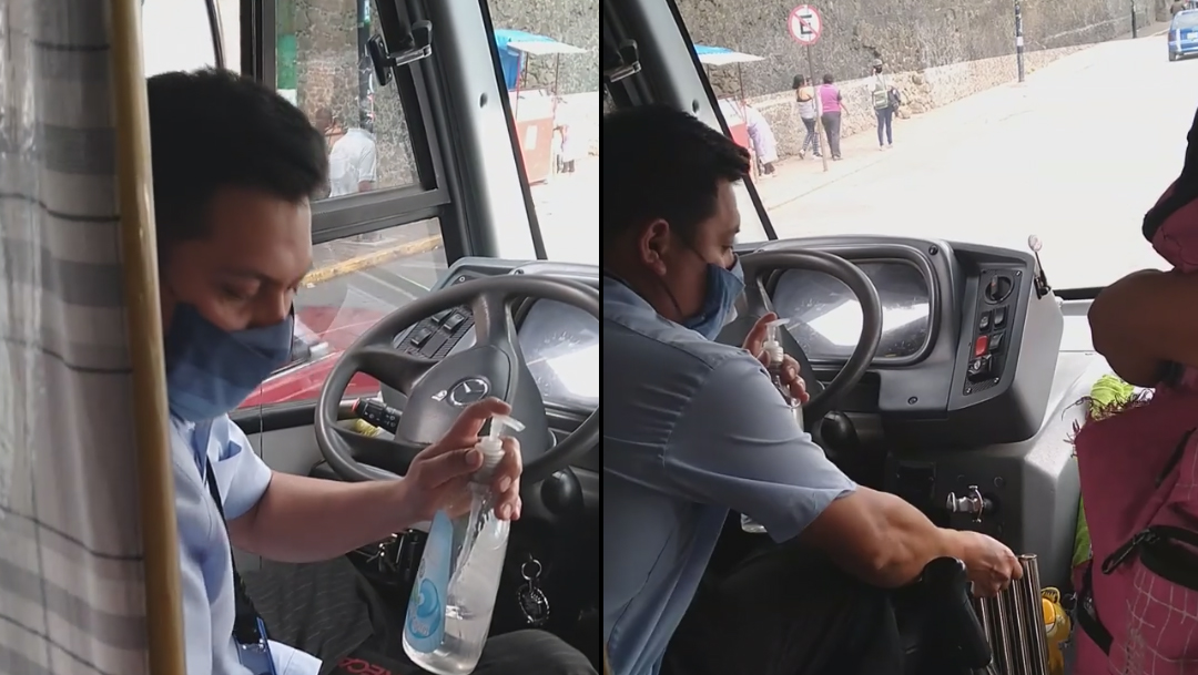 #Video así combate el COVID este conductor de transporte público en Milpa Alta