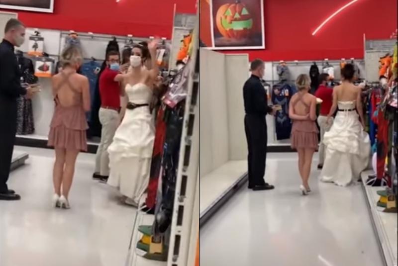 #Video mujer vestida de novia y un sacerdote acudió al trabajo de su pareja para exigirle matrimonio