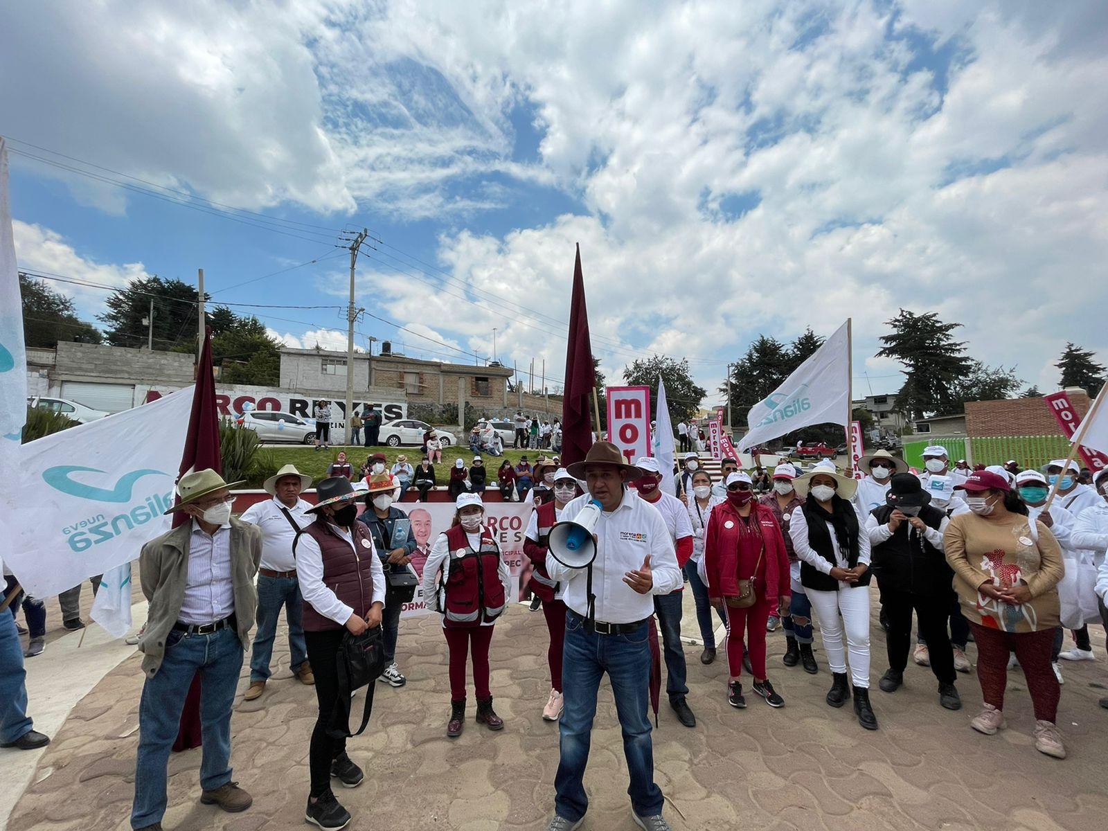 Apoyo contundente de San Pedro Tejalpa para Marco Reyes