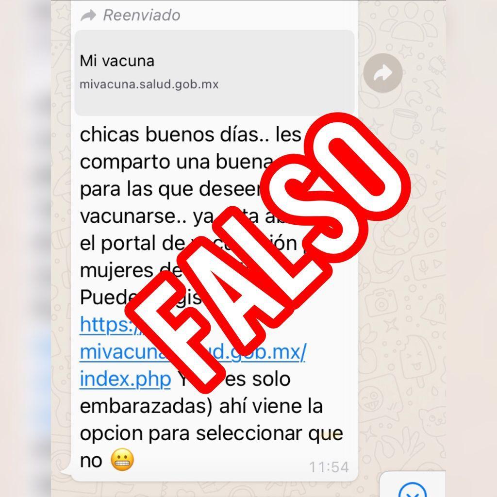 ¡Falso! Mensaje de WhatsApp donde se invita a mujeres de 18 a 50 años a registrarse para vacuna contra la COVID-19