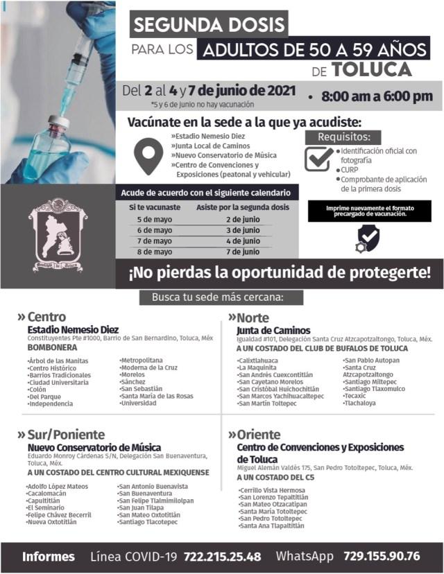 Un total de 30 mil 218 personas fueron inmunizadas contra el COVID-19 durante el primer día de la Jornada de Vacunación en Toluca, que continuará este jueves 3, viernes 4 y lunes 7 de junio de 8:00 a 18:00 horas en las cuatro sedes habilitadas en la capital.