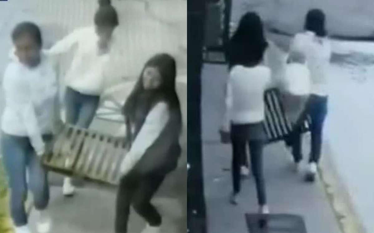 #VIDEO Jovencitas son captadas robando tapas de coladeras en Acolman