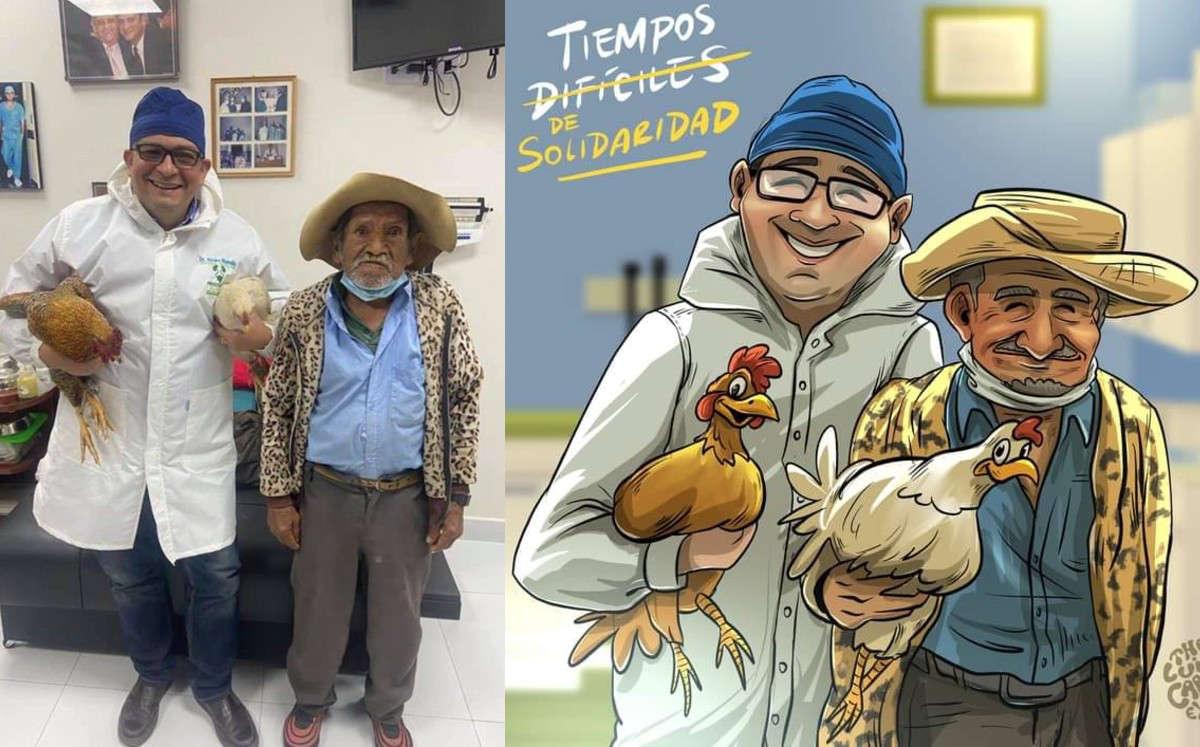 #LoViral Abuelito paga operación de próstata con dos gallinas
