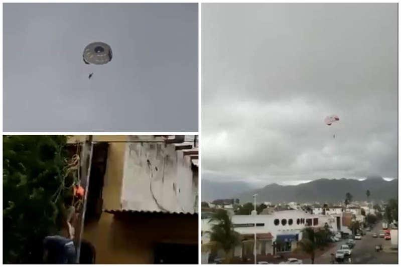 Aterriza joven en cables de alta tensión luego de que se rompiera el parachute en la playa