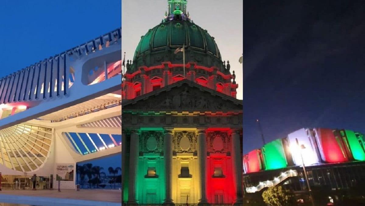 Monumentos y edificios del mundo iluminados con los colores de la Bandera Mexicana