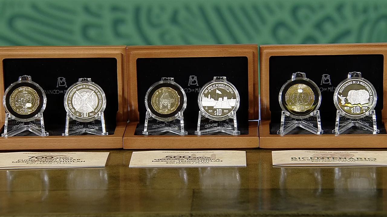 Lanza Banxico tres monedas conmemorativas de 20 pesos y tres más de colección