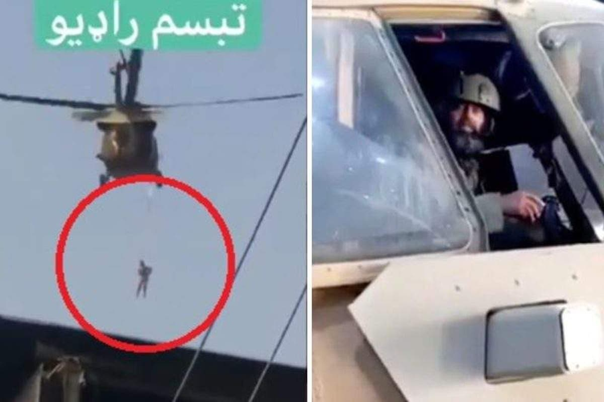 #VIDEO Difunden en redes sociales a talibanes volando helicóptero con un hombre colgando