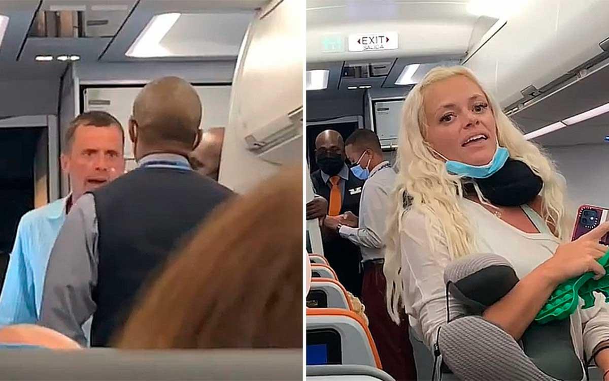 #Video: bajan a pareja en estado de ebriedad de un vuelo por no usar cubrebocas