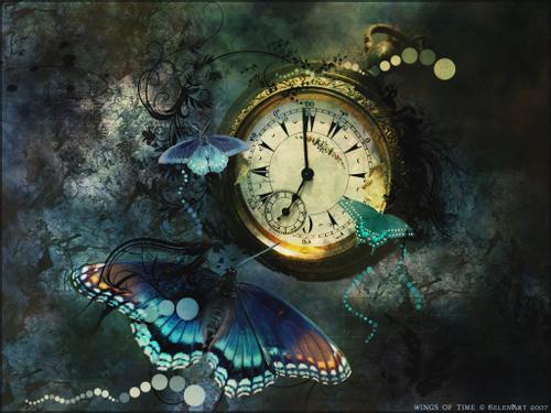 tiempo, reloj, mariposas