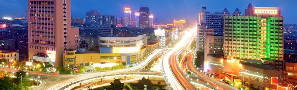 calle, noche, luces, edificios, rutina, energia