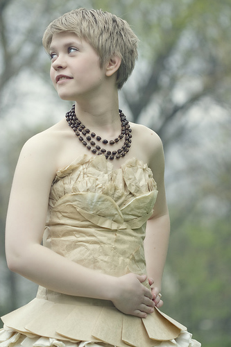 """Aimee told Seventeen.com that she worked on her gown """"for about a month, experimenting, sewing, and staining until the dress was finished."""" Plus, take another look at that statement necklace — her dad made it out of coffee beans!"""
