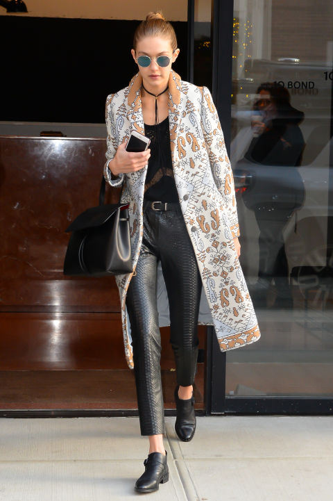 Snakeskin, studs, lace, brocade – there's nothing Gigi can't rock.