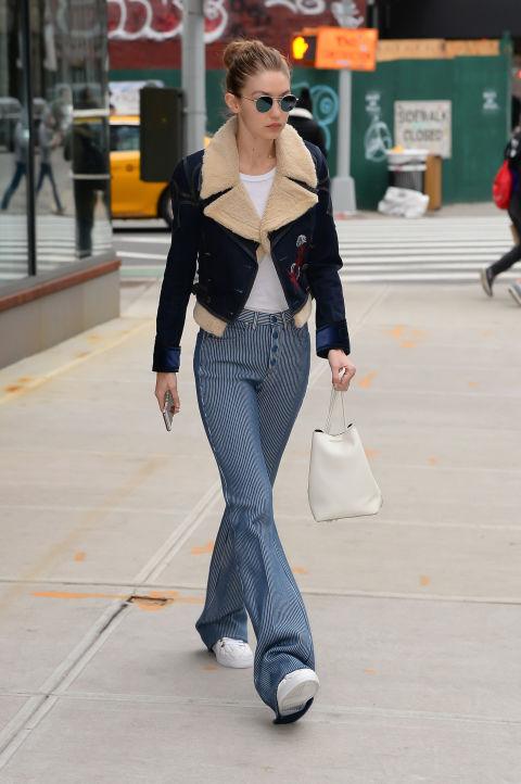This chunky jacket perfectly balances out Gigi's massive flares – retro perfection.