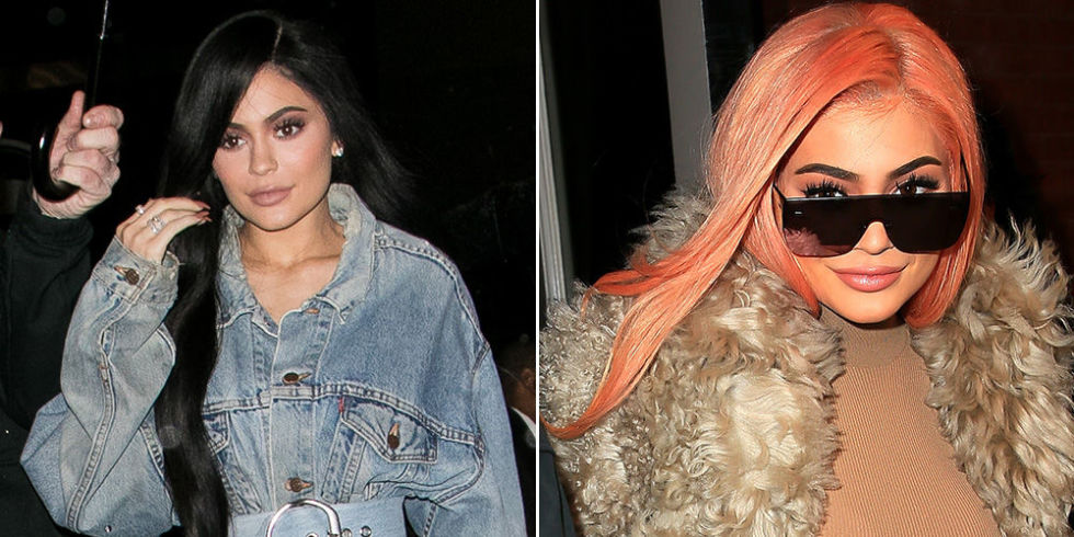 Kylie decided to try out a familiar hair color on a night out in NYC last night, wearing a long pastel orange wig that totally looked like a scoop of sherbet ice cream. She rocked the same wig at Coachella last year and it looks just as flawless the second time around.