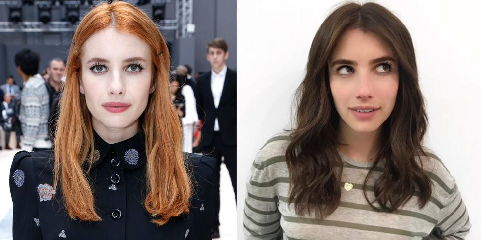 After only five weeks of living the ginger life, Emma changed up her 'do again. This time, she went for a gorgeous warm brown color.