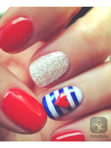 A Fun And Bold Looking Plaid Nail Art Design The Blue Gray White