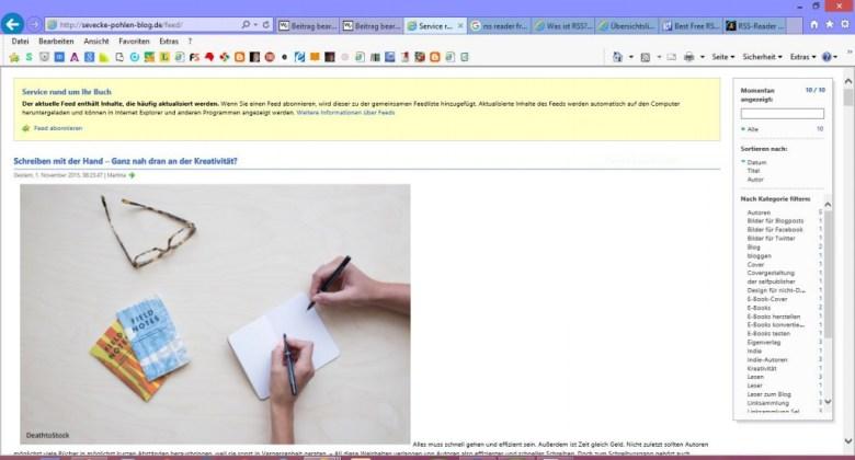 Screenshot RSS-Feed http://sevecke-pohlen-blog.de/feed/