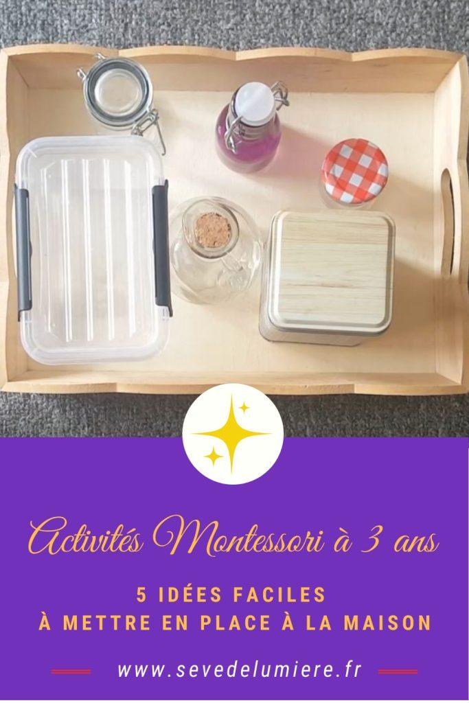 Activités montessori à 3 ans faciles à mettre en place à la maison #activitéà3ans #pédagogiemontessori
