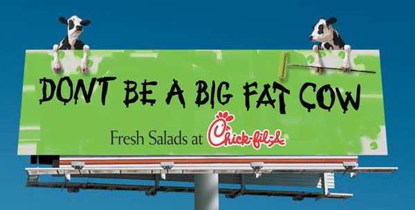 Креативная реклама. Eat Mor Chikin Cowz. Eat salad