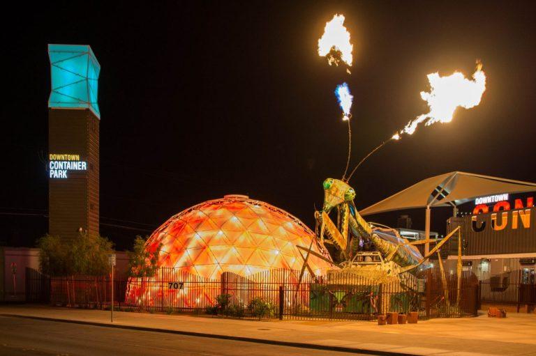 Развлечения в Лас-Вегасе. Огнедышащая самка богомола в Контейнер Парке