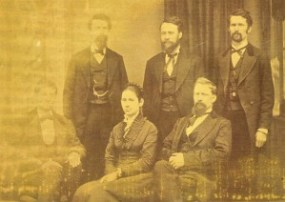 Hoy siblings, circa 1873 standing: J.S., Valentine, Adea sitting: Harry, Emily (my g-g-grandmother), Frank