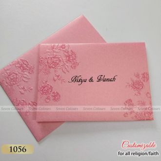 Pink Floral Gujarati Wedding Invitation
