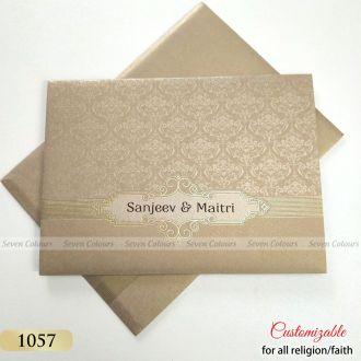 Sikh Wedding Card in Grey Gold