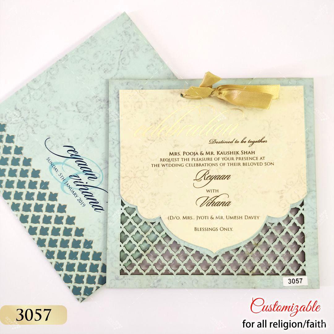 turqoise laser cut mdf wedding card