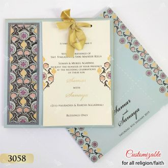sky blue floral laser cut invitation