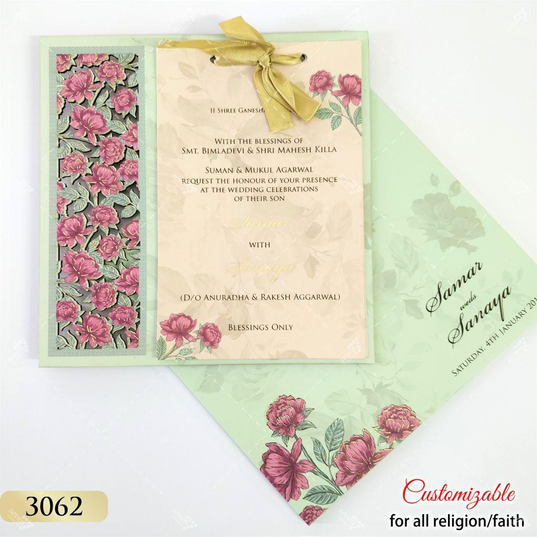 sea green floral laser cut card on mdf