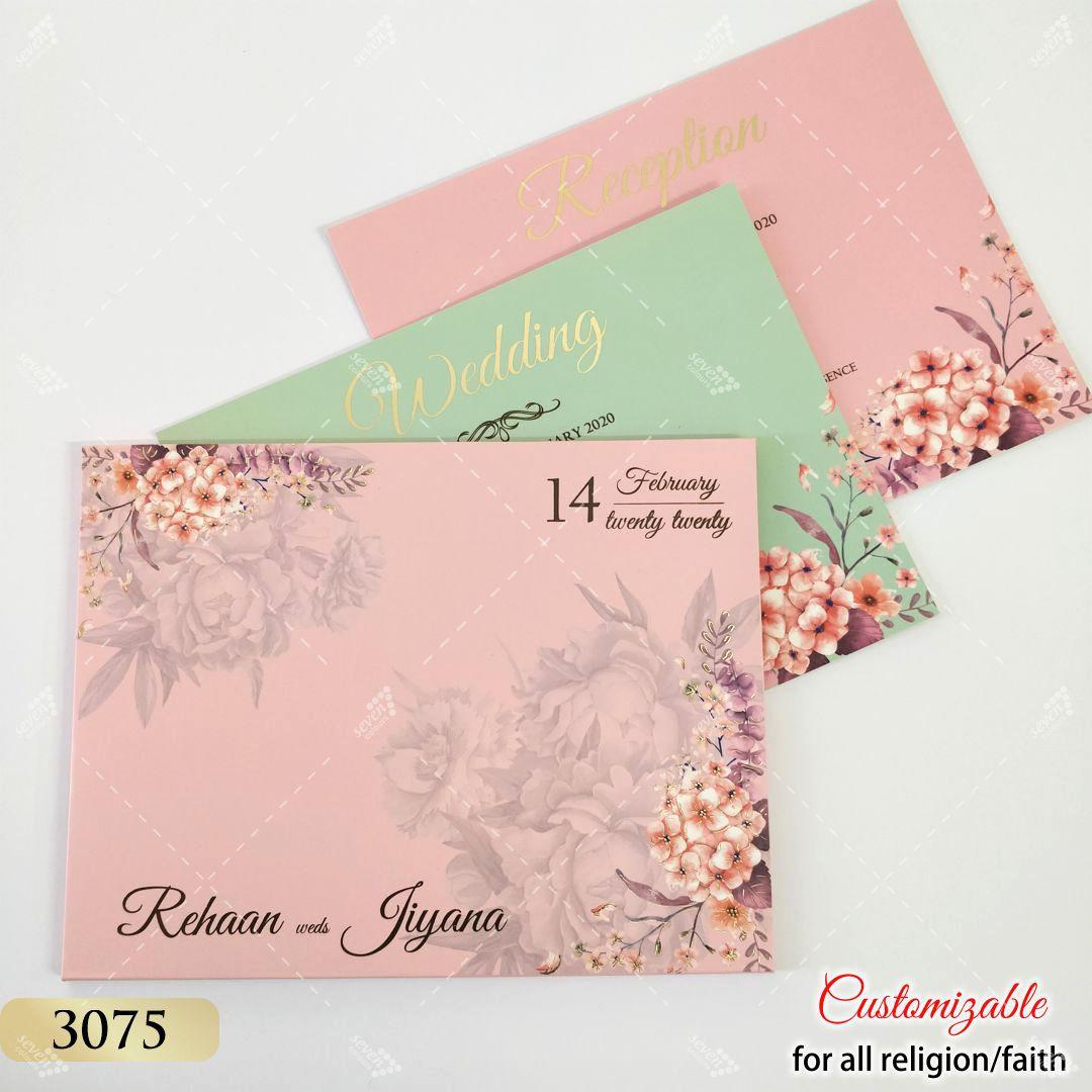 Floral hardcover folder style invitation