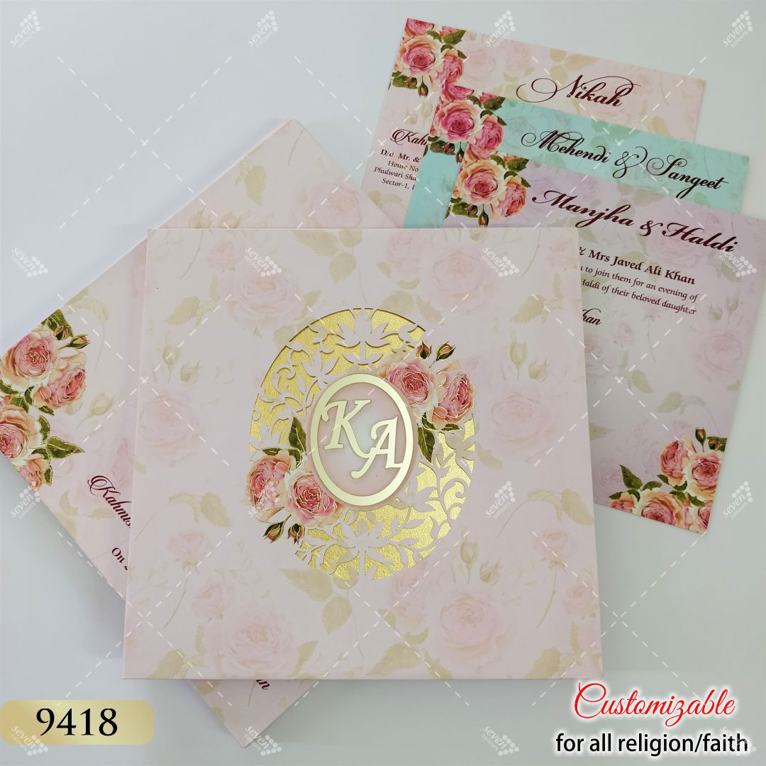 boxed floral pink invitation in lasercut premium design and floral theme inserts