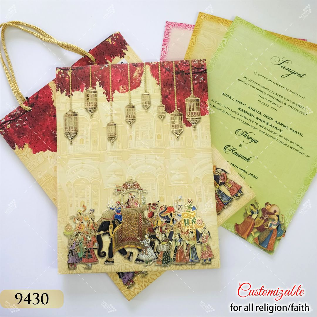 Carry Bag style Indian theme elephant design invitation