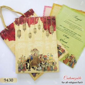 Carry Bag style Indian theme elephant design invitation