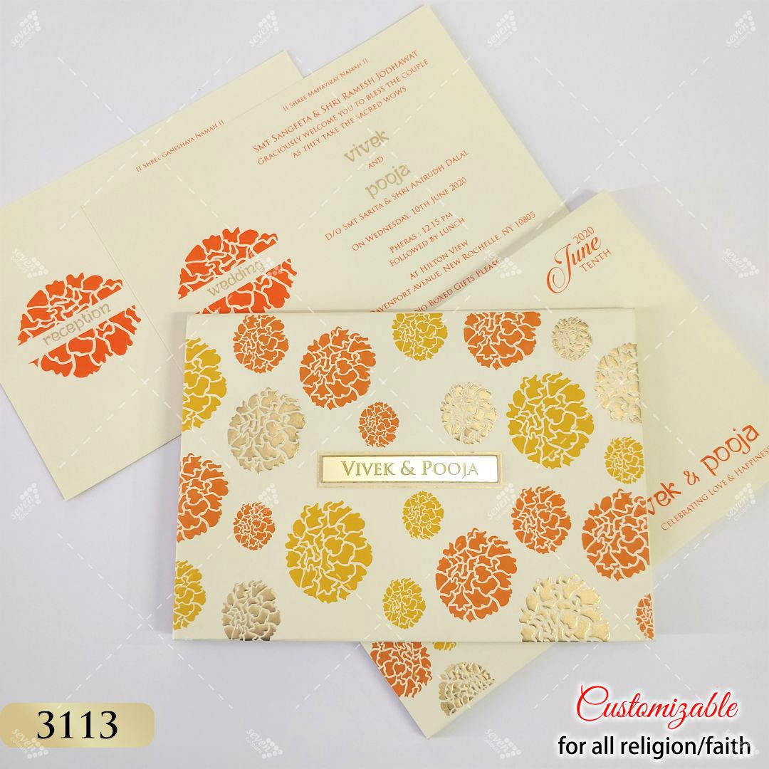 marigold orange and yellow theme wedding invitation