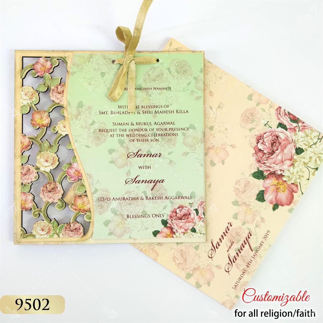 peach floral lasercut mdf board invitation