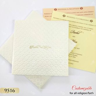 white embossed hardcover wedding invitation