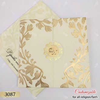 door style floral gold design embossed indian style card