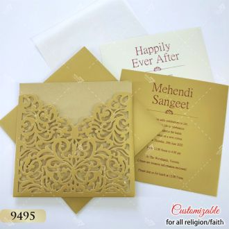 low cost laser cut wedding card - gold colour